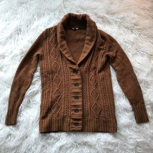 FOSSIL BROWN KNIT CARDIGAN SWEATER